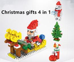 Wholesale Blocks Santa - 4 In 1 LOZ Building Blocks Santa Claus Christmas Stockings Christmas tree Polar Bear Figures Model Christmas Toys Gift for Children