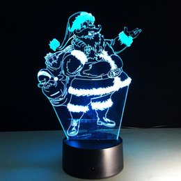 Wholesale Desk Novelty Gifts - Santa Claus 3D Illusion USB Touch Table Lamps 7 Color Changing Novelty Led Night Light Christmas Holiday Gifts Desk Lamp Atmosphere Lamp