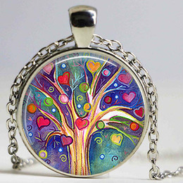 Wholesale Cabochon Resin Tree - Tree of Hearts necklace Tree of Hearts Valentine's Gift Romantic Gift Tree poendant Resin Jewelry Cabochon Glass