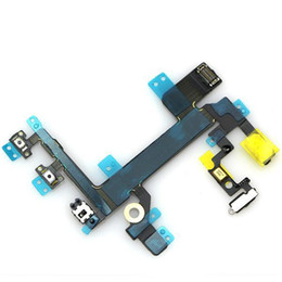 Wholesale Microphone Parts - 100% Original Power Button and Volume Audio Control Sensor Flex Cable Replacement Part with Microphone for iphone 5G 5S 5C 6 6 plus