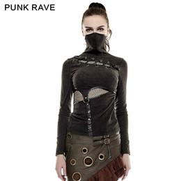 Wholesale Top Style Mask - Wholesale- 2016 New Punk Rock Black Brown Colour summer t shirt Steampunk mask style kawaii Top S L XXL