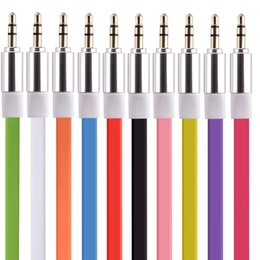 Wholesale flat audio speakers - 1m 3.5mm Jack Flat Audio Cable Male to Male Stereo Auxiliary Aux Cable Cord For MP3 Headphone for iphone ipod Speaker