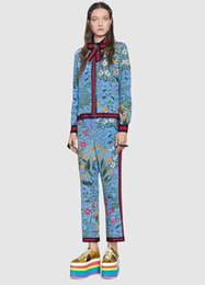 Wholesale Woman Pant Shirt Set - 2017 Blue Lapel Neck Long Sleeves Women's Shirts And Long Pants Milan Runway Florals Print Button 2 Pieces Sets Women DH040