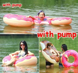 Wholesale Inflatable Pool Games - 6 Sizes Thick Inflatable Air Mattresses Cute Doughnut Design Gigantic Swimming Floating With Pump Adult Kids Row Pool Toy For Water Game