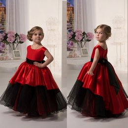 Wholesale Wedding Dresses For Children Cute - Cute Red and Black Long Graduation Gown Children A Line Sleeveless Flower Girl Dresses For Weddings Long Prom Dress With Sash