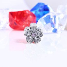 Wholesale Pink Apple Jewelry - Authentic 925 Silver Beads Sparkling Apple Blossom Charms, Blush Pink Crystal & Clear CZ Fits European Style Jewelry Bracelets