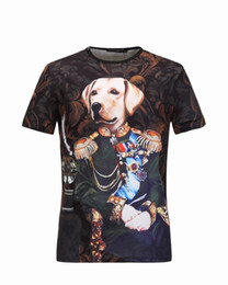 Wholesale Dog Print Clothes - 2017 New Fashion Brand Clothes Men's T-Shirt short Sleeve Abstract aristocratic palace wind body dog head 3D printing Men Cotton Casual T Sh