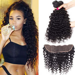 Capelli brasiliani dell'onda profonda tessono 3 pacchi con chiusura capelli umani di Remy e 1PC 13x4 chiusura frontale in pizzo brasiliano peruviano capelli indiani cheap brazilian indian deep wave lace closure da chiusura indiana brasiliana del merletto d'onda profonda fornitori