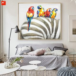 Wholesale Canvas Wall Art Ideas - hand painted modern ideas design animals canvas wall art color parrot on zebra oil paintings bedroom decoration gift
