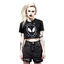 Wholesale Grunge T Shirt - Wholesale-2016 Summer Style Grunge Women Crop Top Graphic Tees BEWARE OF THE HUMANS Alien Printed Short T Shirt