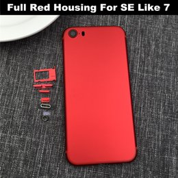 Wholesale Camera Replacement - Full Red Housing Cover For iPhone 5S SE Like 7 Big Camera lens Aluminum Metal Back Case Housing Battery Door Cover Replacement Like i7 style