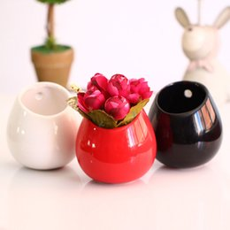 Wholesale Glazed Ceramic Vase - Modern Simple Glazed Ceramic Flower Pots Small Wall Mounted Plant Container Hanging Home Decorative Vases ZA4185