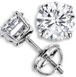 Wholesale Diamond Ct - 2.00 CT G-H SI GENUINE ROUND DIAMOND STUD EARRINGS 14K WHITE GOLD