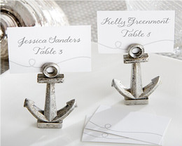 "Wholesale Bridal Shower Cards - Wholesale-24 pcs lot antique silver ""Nautical"" Anchor Place Card Holders Table Decor for Wedding Party bridal shower favor Free shipping"