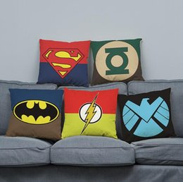 Wholesale Green Lantern Casing - Popular movie cushion cover linen bolster case freeshipping wholesale retailing superhero logo Flash Batman Green Lantern washable