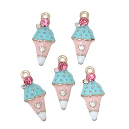 "Wholesale Enamel Ice Cream Charms - Wholesale- Doreen Box Charm Pendants Ice Cream Light Golden Multicolor Pink Rhinestone Enamel 23mm( 7 8"") x 10mm( 3 8""),5 PCs 2016 new"