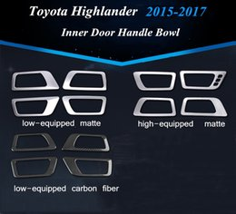 Wholesale Toyota Chrome Door Handles - 4pcs set ABS Chrome Inner Door Handle Bowl Panel Trim for Low high Equipped Toyota Highlander 2015-2017 Car Inner Decoration Sticker