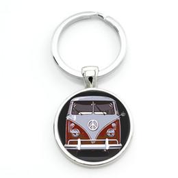 Wholesale Buses Steels - TAFREE new vintage Hippie Peace Sign Van Bus keychain fashion men women purse bag car pendant key chain ring holder jewelry CT89