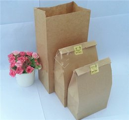 Wholesale Hamburger Paper - 100 Pcs lot Eco-friend Recyclable Kraft Shopping Bags Fast food Paper Bags Packaging Bags for food Popcorn Hamburger Coffee Nut many size