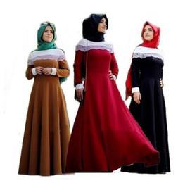 Wholesale Muslim Dresses Females - Fashion Muslim Adult Female Summer Lace Stitching Abaya Prayer Dress Long Sleeve Dubai Style Arabian Robes Ethnic Costume