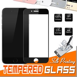 Wholesale Print Screen Protector - Silk Printing Tempered Glass Full Coverage Screen Protector Protective Film Guard Anti Explosion 9H Hardness For iPhone 8 7 Plus 6S 6