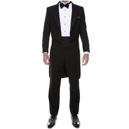 Wholesale White Tail Coat Suit - Black lapel men suits custom made groom suits swallow-tailed coat handsome formal business party dress suits(jacket+pants)