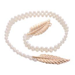 Wholesale Elastic Chain Belt - Wholesale- New Gold Silver Metal Leaf Faux Pearl Strap Chain Lady Waistband Slender Skinny Elastic Belt Cinturon Ceinture Femme ho679567