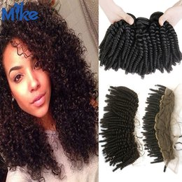 Wholesale Mongolian Kinky Curly Frontal - MikeHAIR Mongolian Kinky Curly Hair Weaves 3 Bundles with Lace Frontal Mink Brazilian Indian Human Hair and Lace Frontal 4Pcs lot Wholesale