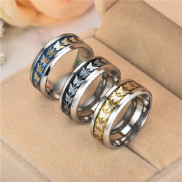 Wholesale Matching Wedding Rings - Simple fashion all-match temperament Stainless steel butterfly rings for men or women