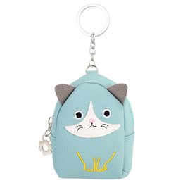 Wholesale Cat Shaped Purse - Lady's PU Leather Coin Purse cute Cat Shape Metal Keychain Keyring Car Keychains Purse Charms Handbag Pendant