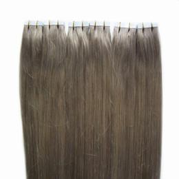 Pelo de trama sin costura online-Al por mayor-brasileña virgen extensiones humanas cinta del pelo 300g cinta adhesiva para extensiones de cabello 120pc trama de la piel sin fisuras extensiones de cinta gris