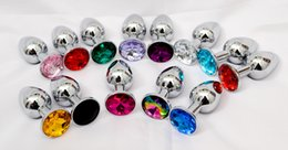Wholesale Small Anus - HOT Small Size Unisex Metal Stainless Steel Anal Plug With Crystal Jewelry Butt Booty Bead Anus Dilator Adult Bondage BDSM Sex Toy Product