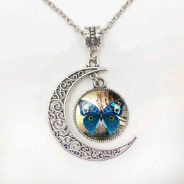 Craft fashion Silver plated blue Butterfly Cabochon Glass Chain Pendant Necklace