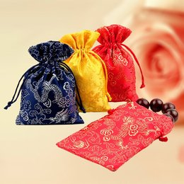 "Wholesale Necklace Embroidery - Thicker Embroidery Silk bag 9x13cm(3.5""x5"") Necklace Bracelets Jewelry Brocade Pouch"