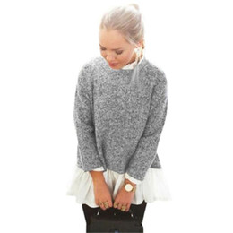 Wholesale Womens Ruffle Sweater - Wholesale-Feitong Womens Casual Ruffled Collar Long Sleeve Tops 2015 New Loose Knitwear Patchwork Frill Shirts Pullover Sweater pull femme