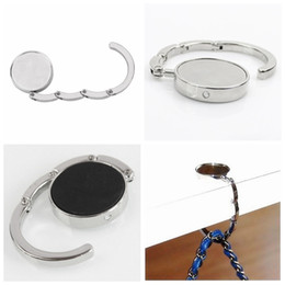 Wholesale Metal Accessories Clothing - Portable Silver Foldable Zinc Alloy Purse Handbag Tote Bag Hook Hanger Bag Holder Home Clothing Accessories YYA375