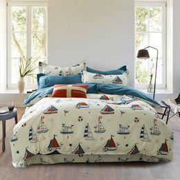 Wholesale Blue Coverlet Queen - 3 4pcs mediterranean Bedding Set 100%Cotton Soft Bed Linen Duvet Cover Pillowcases blue ship Bed Sheet Sets Coverlets