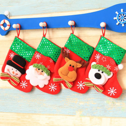 Wholesale f foot - Christmas Sock With Lanyard Children Party Gift Candy Small Sequins Bag Santa Tree Pendant Multi Pattern Home Decor 2qy F R