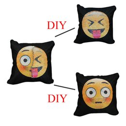 Wholesale funny pillowcases - Funny Emoji Cushion Cover Reversible Sequin Pillow Case Changing Pillowcase Decorative Pillowcase Home Decor