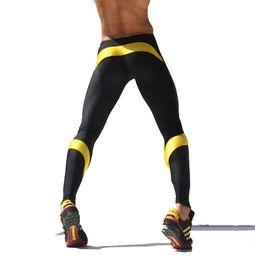 Wholesale Men S Tight Running Shorts - Wholesale-Athletic Men Gym Pants Mens Yoga Long Pants Elastic Running shorts skinny Legging Sports Tights AQUX Men Trainning Pants