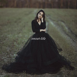 Wholesale Sexy Black Gothic Wedding Gowns - Modest Black Country Wedding Dresses Ball Gown V Neck Long Sleeve Puffy Tutu 2017 Cheap Simple Gothic Bridal Garden Outdoor Wedding Gowns