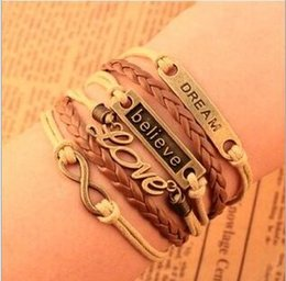 Wholesale Heart Dreams - HOT Retro LOVE dream 8 eight words of faith, Believe ,fashion, beautiful leather rope hand woven multi-layer Bracelet