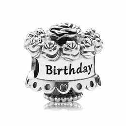 Wholesale Cake Number - Authentic 925 Sterling Silver Bead Charm Happy Birthday Rose Cake Beads Fit Pandora Bracelet Bangle DIY Jewelry