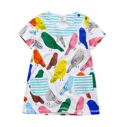Wholesale Short Tutu Dresses - Girls Dresses Childrens Short Sleeves Pretty Colorful Cartoon Bird Printed Cotton Dress Girls Summer Sweet Dress Kids Clothes