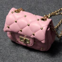 Wholesale Leather Childrens Backpacks - 2017 Childrens Bags Fashion Gold rivet Girl messenger bag Mini Girls bags best Leather bag kids Shoulder Bag Small Purse Cute Handbags A573