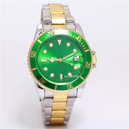 Wholesale Mens Red Gold Watch - relogio masculino AAA quality Luxury mens watches leisure fashion Green face bule Dial automatic Calendar Male stainless steel quartz clocks