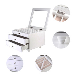 Wholesale Jewelry Box Glass Top - Jewelry Box Makeup Organizer Display Jewelry Case with Top Glass,White
