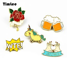 Wholesale Unicorn Brooch - Timlee X223 Cute Animals Unicorn Enamel Pin Love Hand Beer WTF Rose Brooch Pins Button Pins Fashion Jewelry Wholesale