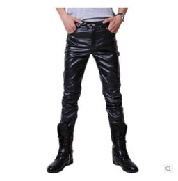 Wholesale Hip Hop Mens Leather Pants - Wholesale- 2015 Hip Hop Mens Black Leather Pants Faux Leather Pu Material Black Color Motorcycle Skinny Faux Leather Pants