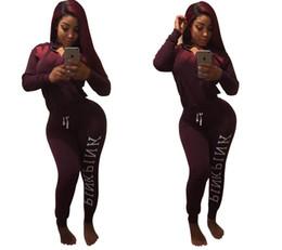 Wholesale Black Pants Suit Ladies - Sweatshirt and Pants 2 Piece Set 2017 Autumn Women Fashion Letter PINK Print Sporting Suits for Ladies Leisure Tracksuit Outfits